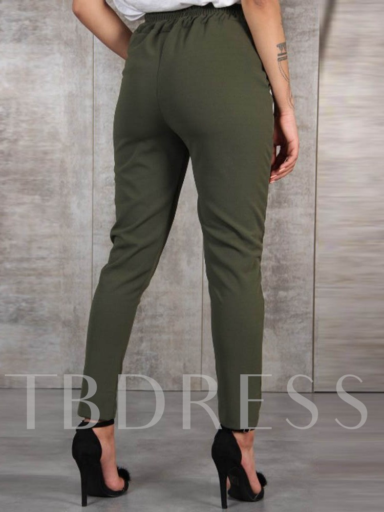 Slim Lace-Up Plain Pencil Pants Women's Casual Pants