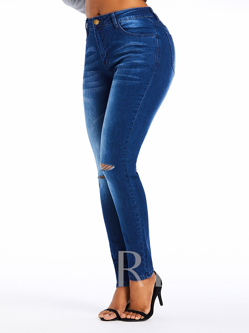 Plain Pencil Pants Hole High-Waist Women's Jeans