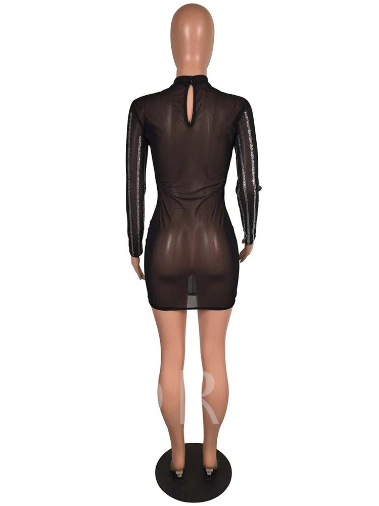 Stand Collar Diamond Long Sleeve Women's Bodycon Dress
