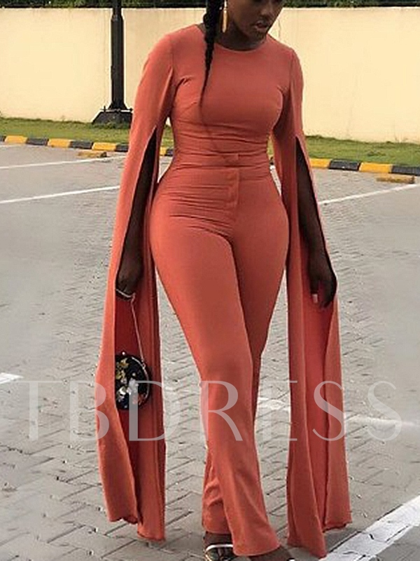 Zipper Plain Full Length Casual High Waist Women's Jumpsuit