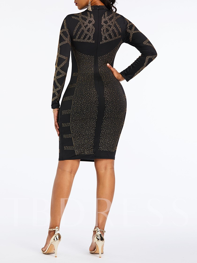 Long Sleeve Sequins Bodycon Women's Long Sleeve Dress