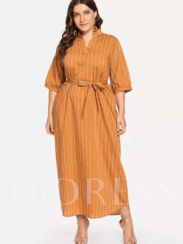 Lace-Up Half Sleeve Casual Stripe Women's Maxi Dress