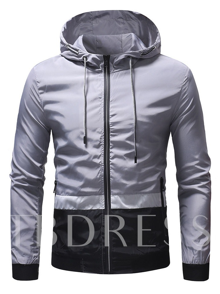 Color Block Patchwork Hooded Zipper Men's Jacket