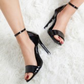 Open Toe Line-Style Buckle Stiletto Heel Heel Womne's Sandals