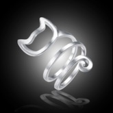 Hollow Out Cat Shape Silver Plated Party Ring