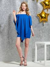 Illusion Neck Short Sleeves Column Cocktail Dress 2019