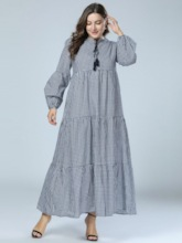 Lace-Up Long Sleeve Travel Look Women's Maxi Dress