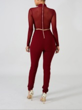 Sexy Full Length Mesh Pencil Pants Women's Jumpsuit