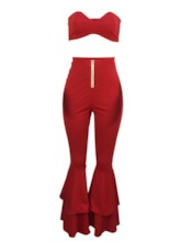 Sexy Vest Plain Pleated Bellbottoms Women's Two Piece Sets