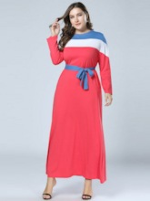 Lace-Up Round Neck Long Sleeve A-Line Women's Maxi Dress