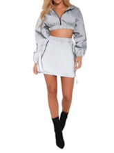 Plain Fashion Pleated Pullover Women's Two Piece Sets