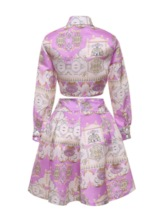 Print Geometric Shirt Fashion A-Line Women's Two Piece Sets