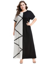 Patchwork Round Neck Short Sleeve Color Block Women's Maxi Dress