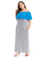 Off Shoulder Patchwork Half Sleeve Summer Women's Maxi Dress