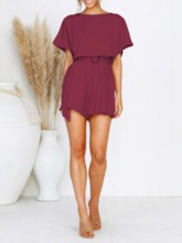 Shorts Plain Casual Loose Women's Rompers