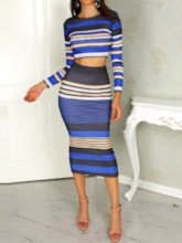 Fashion Skirt Stripe Patchwork Pullover Women's Two Piece Sets