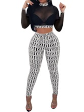 T-Shirt Print Sexy Geometric Pullover Women's Two Piece Sets