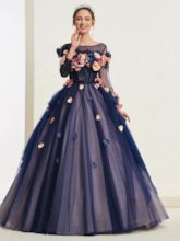 3D Foral Button Long Sleeves Quinceanera Dress 2019