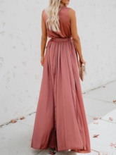 Sleeveless V-Neck Patchwork Expansion Women's Maxi Dress
