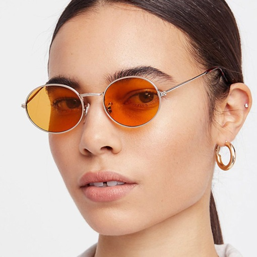 Orange-Tinted Lens Resin Oval Sunglasses