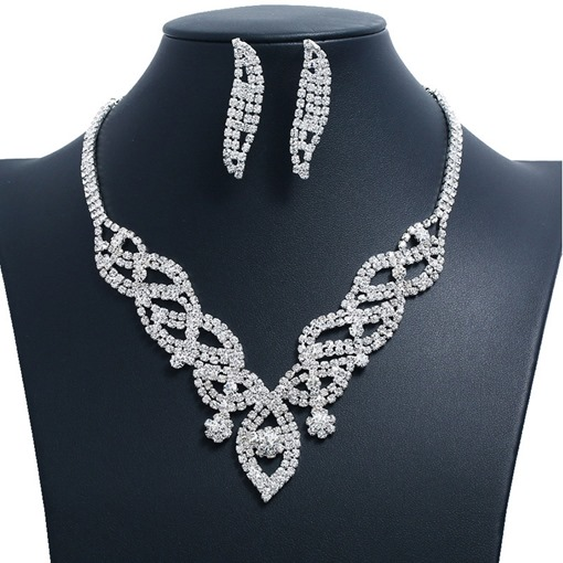 Elegant Full Drill Earrings Necklace Jewelry Sets