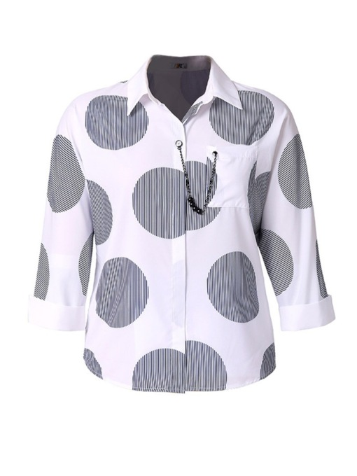 Color Block Polka Dots Plus Size Women's Shirt
