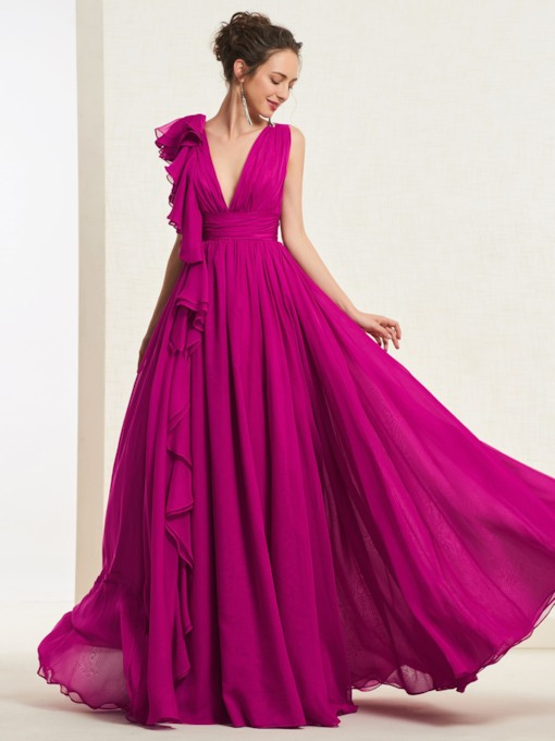 Floor-Length Cascading Ruffles V-Neck Prom Dress 2019