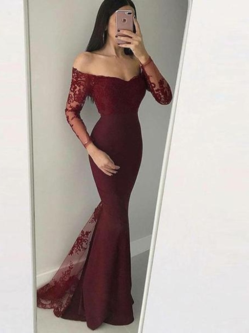 Off-The-Shoulder Long Sleeves Mermaid Evening Dress 2019