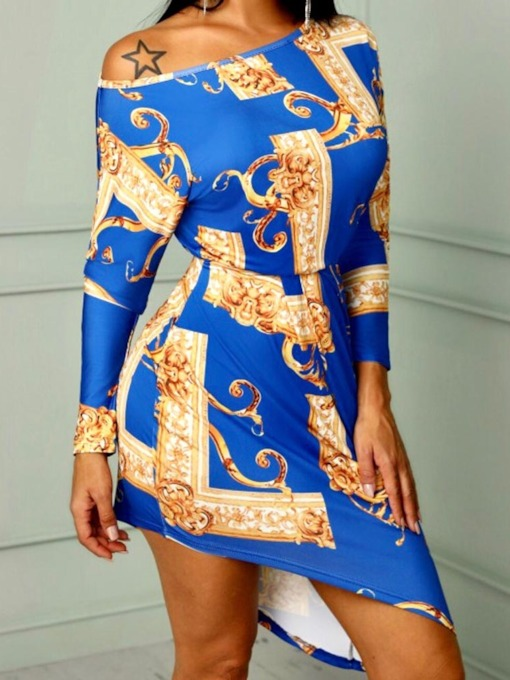 Print Color Block Asymmetrical Women's Long Sleeve Dress