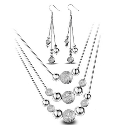 Hot Sale Silver Plated Earrings Necklace Jewelry Sets