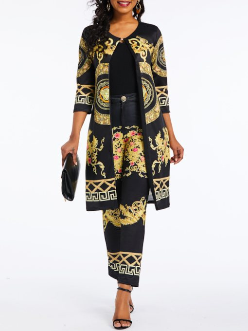 Color Block Print Casual Coat Straight Women's Two Piece Sets