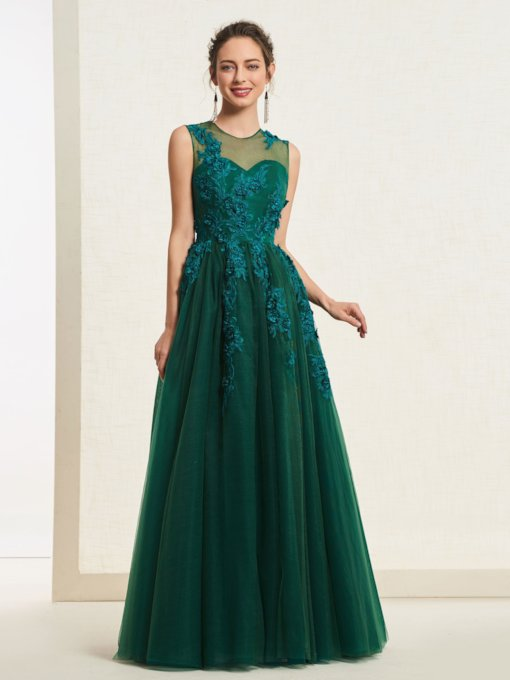 A-Line Appliques Dark Green Prom Dress 2019