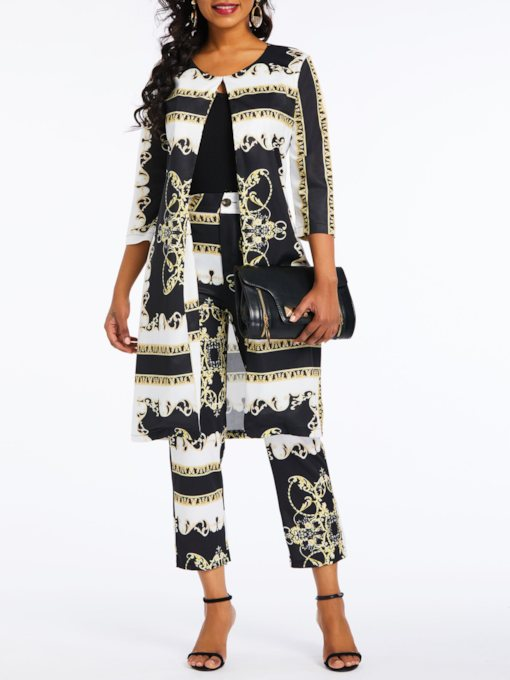 Geometric Casual Coat Print Straight Women's Two Piece Sets