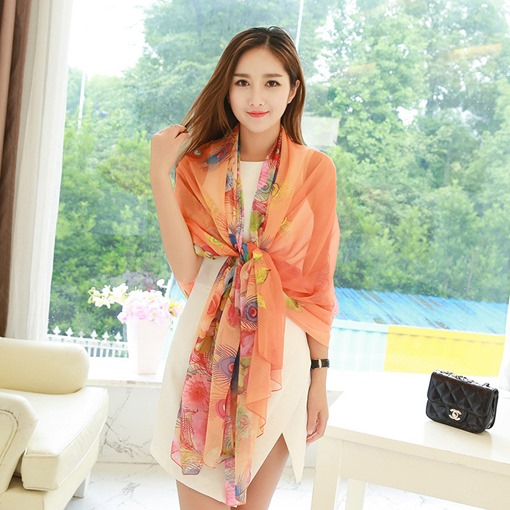 Floral Print Polyester Soft Beach Scarf