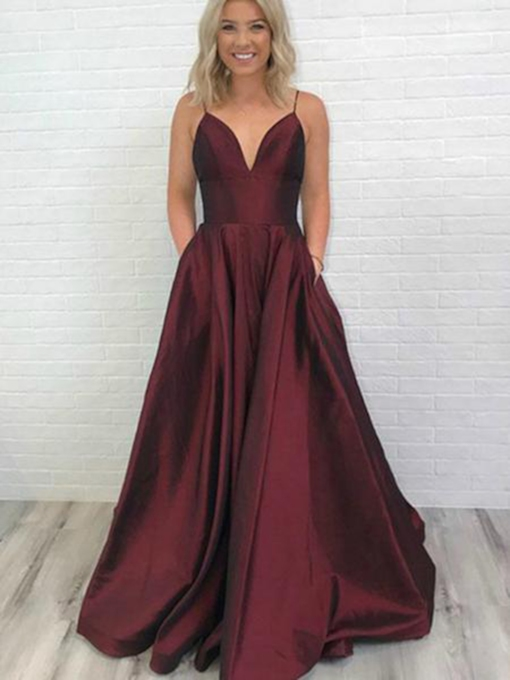 A-Line Spaghetti Straps Floor-Length Sleeveless Evening Dress 2019