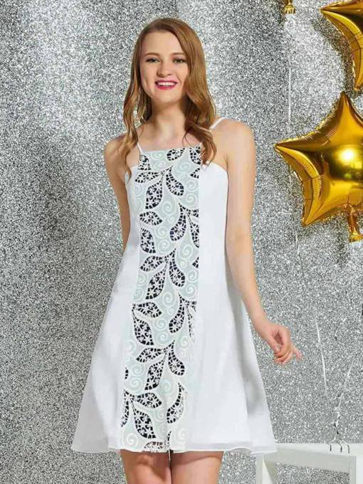 Short A-Line Sleeveless Lace Homecoming Dress 2019