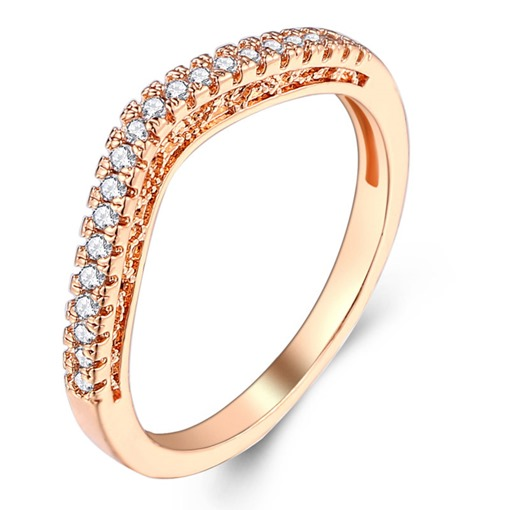 Hot Sale V Shape Full Drill Alloy Wedding Ring