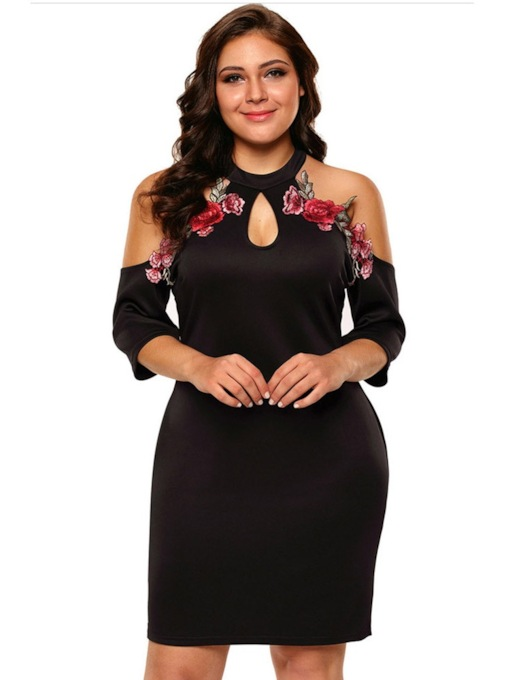 Appliques Three-Quarter Sleeve Floral Women's Day Dress