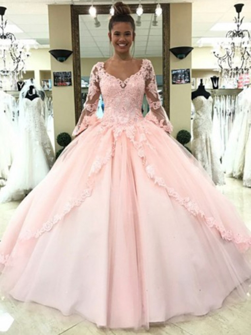 Appliques Long Sleeves Ball Gown Quinceanera Dress 2019