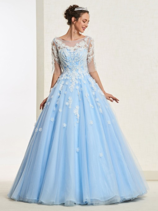 Appliques Half Sleeves 3D Floral Quinceanera Dress 2019