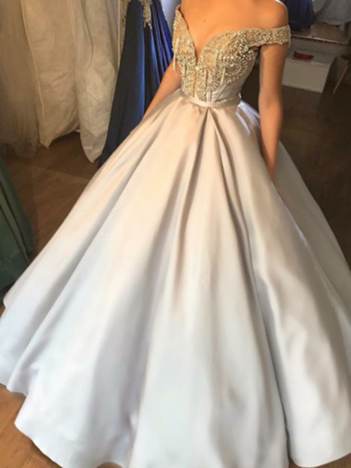 Beading Floor-Length Off-The-Shoulder Ball Gown Quinceanera Dress 2019