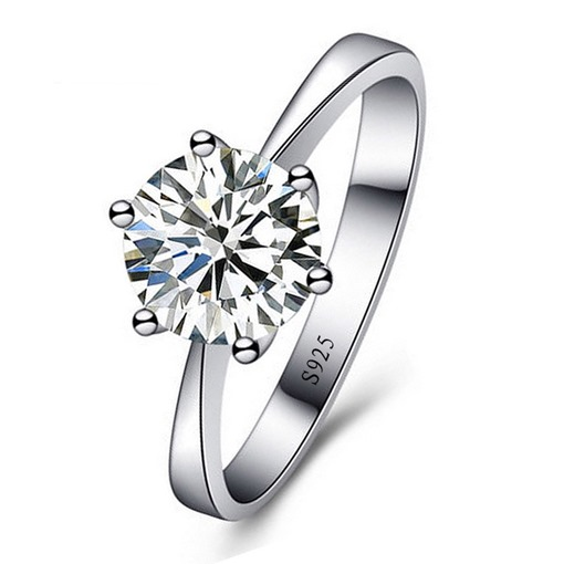 Shiny Round Zircon 925 Silver Wedding Ring