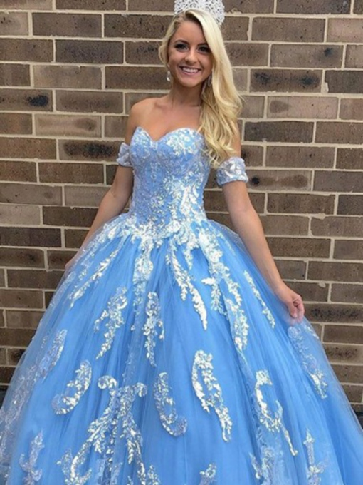 Ball Gown Sweetheart Appliques Short Sleeves Quinceanera Dress 2019