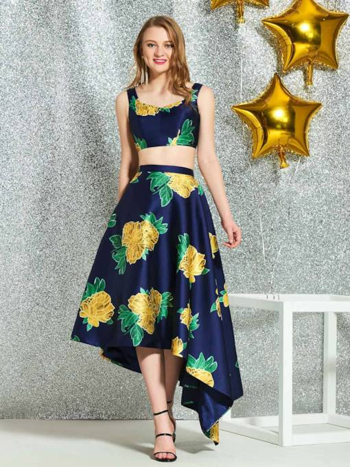 Sheath Knee-Length Straps Print Homecoming Dress 2019