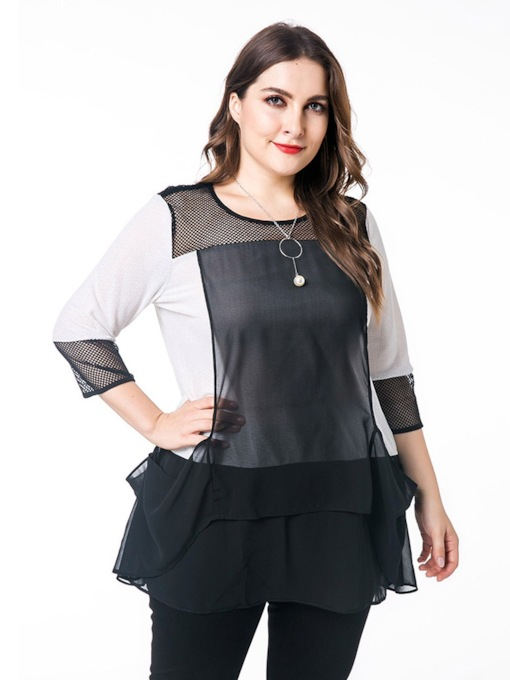 Color Block Mesh Mid-Length Plus Size Women's Blouse