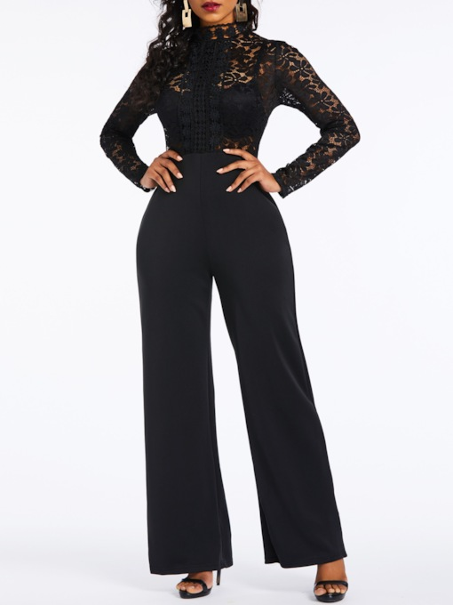 Date Night Lace Patchwork Full Length Straight Women's Jumpsuit
