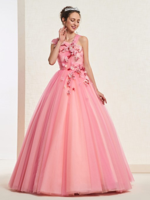 Flowers One Shoulder Sleeveless Floor-Length Quinceanera Dress 2019