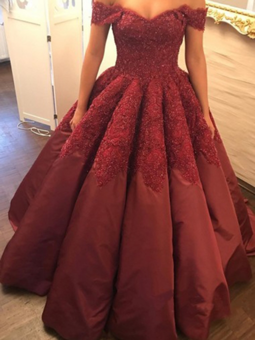 Short Sleeves Floor-Length Off-The-Shoulder Ball Gown Quinceanera Dress 2019
