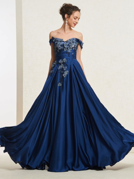 Appliques Off-The-Shoulder Floor-Length Prom Dress 2019