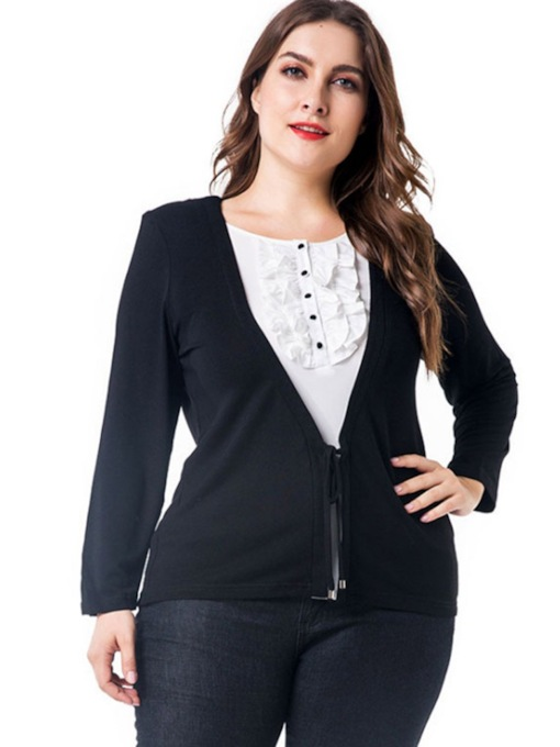 Color Block Double-Layer Plus Size Women's Blouse